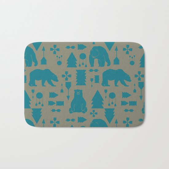 Tribal Bear Blue Bath Mat