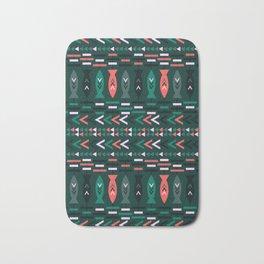 Fish aztec pattern- green Bath Mat