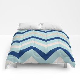 Marine zig zag - golden gradient turquoise Comforters