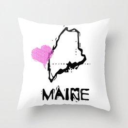 Love Maine State Sketch USA Art Design Throw Pillow