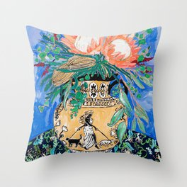 Cat Walk: Protea and Banksia Bouquet Floral Still Life with Greek Urn featuring Woman Walking Cats Throw Pillow