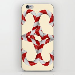 CREAMY YELLOW  RED-WHITE PINK  CHRISTMAS CANDY CANES iPhone Skin