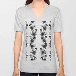 simple watercolor roses with tendrils seamless pattern black white on white Unisex V-Neck