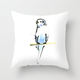 Blue and Yellow Pet Budgie Print Throw Pillow