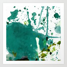 emerald green splash Art Print