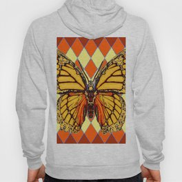 MONARCHS BUTTERFLY  &  ORANGE-BROWN HARLEQUIN PATTERN Hoody