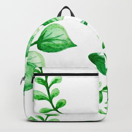 Watercolour Ferns And Vines Leafy Green Continuous Pattern Backpack