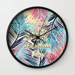 Tropical leaves Nature gold quote design Wall Clock