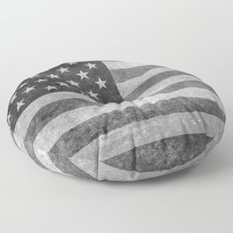 US flag in grungy grayscale Floor Pillow