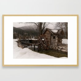 Winter Water Mill At Lake Jasna Framed Art Print