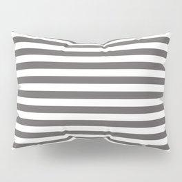 Pantone Pewter Gray & White Uniform Stripes Fat Horizontal Line Pattern Pillow Sham