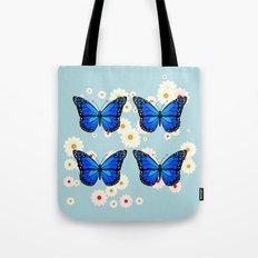 Four blue butterflies Tote Bag