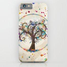 Golden Spiral Tree Color Paint Splatter #2 iPhone Case