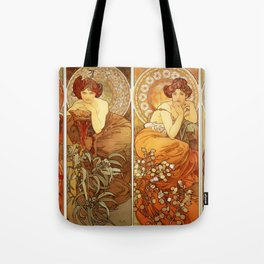 "Alphonse Mucha ""The Gem Series - Ruby, Amethyst, Emerald, Topaz"" Tote Bag"