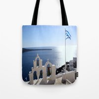 greece Tote Bags featuring Greece by Shine Like Sunbeams