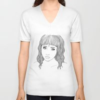 doll V-neck T-shirts featuring doll by Ripley Bruce