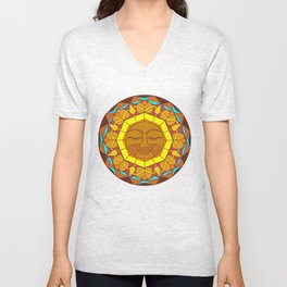 Man in the Moon, Tatoo style Unisex V-Neck
