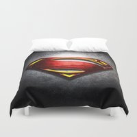 man of steel Duvet Covers featuring Man of Steel by bimorecreative