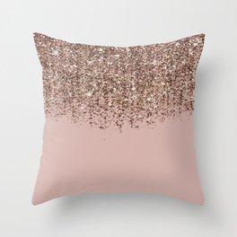 Blush Pink Rose Gold Bronze Cascading Glitter Deko-Kissen