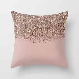 Blush Pink Rose Gold Bronze Cascading Glitter Throw Pillow