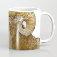 ram Mugs featuring Ram by Jan Elizabeth