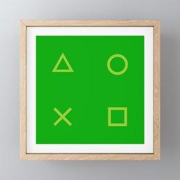 Green Gamer Pattern Framed Mini Art Print