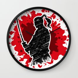 Samurai red Wall Clock