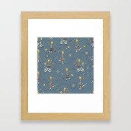 cool giraffe blue background Framed Art Print