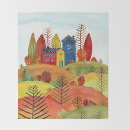 Colorful forest III Throw Blanket