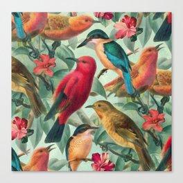 Birds in a summer garden Canvas Print