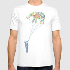 Elephants Can Fly Mens Fitted Tee White MEDIUM