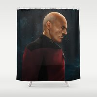 picard Shower Curtains featuring Picard by Raven Krupnow