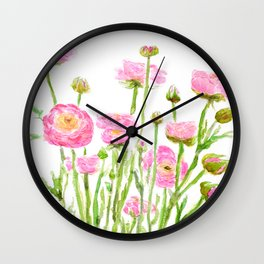 pink  ranunculus Wall Clock