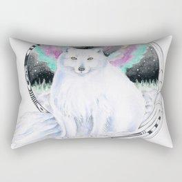 Arctic Polar White Fox Aurora Borealis Stars Ink Rectangular Pillow
