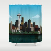 seattle Shower Curtains featuring Seattle by WyattDesign