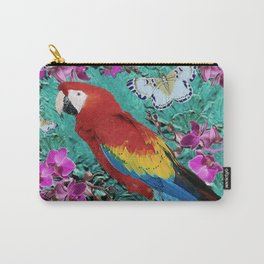 TROPICAL ORCHIDS RED MACAW PARROT JUNGLE ART Carry-All Pouch