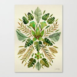 Tropical Symmetry – Olive Green Canvas Print