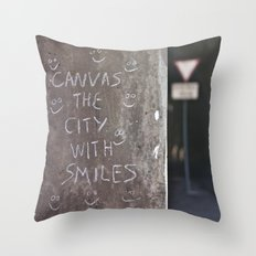Canvas the City with Smiles Throw Pillow