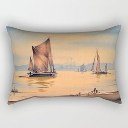 Barges On The River Thames Greenwich London Rectangular Pillow