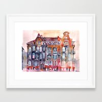 takmaj Framed Art Prints featuring Apartment House in Poznan and orange umbrellas by takmaj