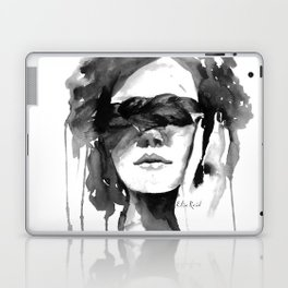 Watercolour Fashion Illustration Girl with the Plait in Her Hair Laptop & iPad Skin