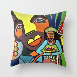 African Traditional Tribal Women Abstract Art Canvas Painting Series - 6 Throw Pillow