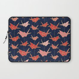 Red origami cranes on navy blue Laptop Sleeve