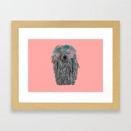 Dredlock Dog (Pastel Pink Edition) Framed Art Print