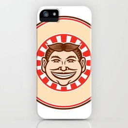Grinning Funny Face Mascot Circle Retro iPhone Case