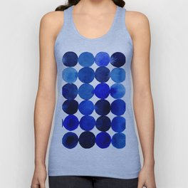 Blue Circles in Watercolor Unisex Tanktop