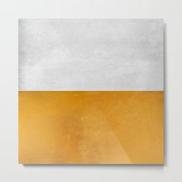 Wabi Sabi - Gold and Grey Texture Metal Print