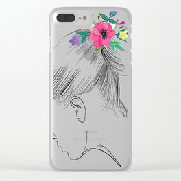 Fashion Illustration Hairdo Bridal Updo Hair Style Drawing Line Art Clear iPhone Case