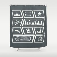 camping Shower Curtains featuring Camping [Reversed] by Corina Rivera Designs