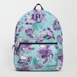 Amethyst Crystal Clusters / Violet and Aqua Backpack